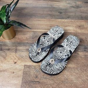 Tory Burch Wedge Zebra Flip Flop/ Sandal